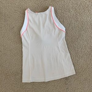 Lululemon Cream and Coral High Neck Tank Top